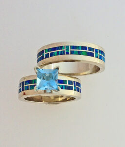 14 Karat Yellow Gold Wedding Set with Cultured Opal and Aquamarine #G0130