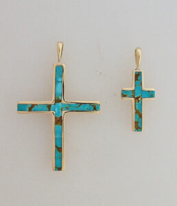 14 Karat Yellow Gold and Turquoise Crosses #G0129