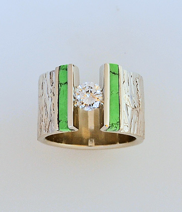 White Gold Bark Texture Ring with Diamond and Turquoise #G0124