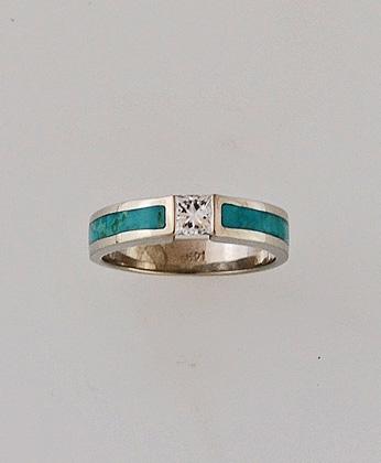 White Gold Diamond and Turquoise Wedding Ring #G0126