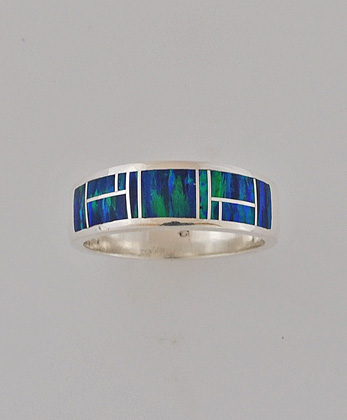 White Gold and Cultured Opal Wedding Band #G0125