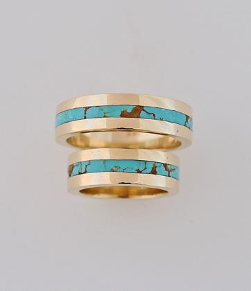 14 Karat Gold and Turquoise Wedding Ring Set