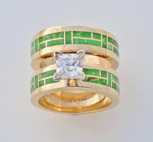 Turquoise and Princess Cut Diamond Wedding Set Turquoise and Princess Cut Diamond Wedding Set #G0133