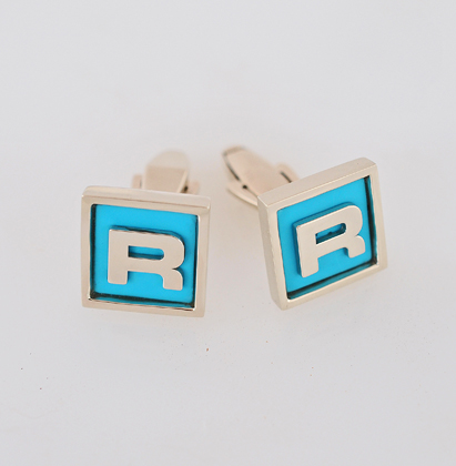 Custom 14 karat white Gold and Turquoise Cufflinks #G0134