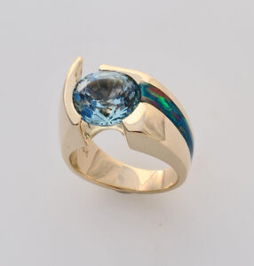 Custom 14 karat yellow gold ring with Aquamarine and Cultured Opal Inlay #G0116