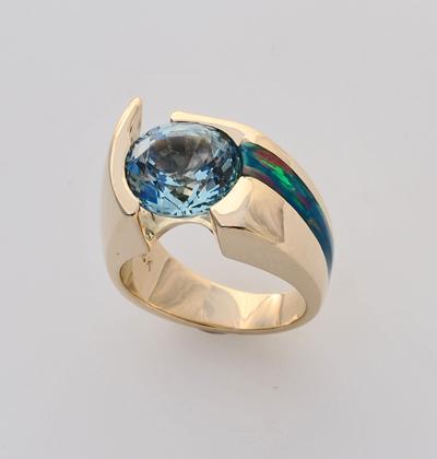 Custom 14 karat yellow gold ring with Aquamarine and Cultured Opal Inlay #G0116