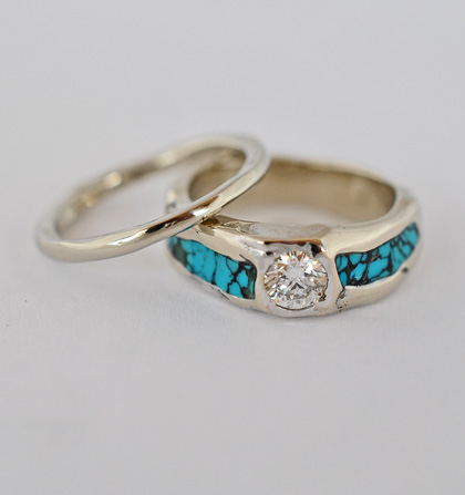 14 Karat White Gold Diamond and Turquoise Wedding Set #G0136