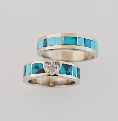 14 Karat White Gold Heart Shape Diamond and Bisbee Turquoise Wedding Set #G0137