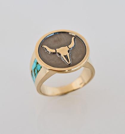 14 Karat Yellow Gold and Turquoise Ring #G0135