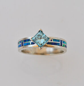 14 karat gold ring with Aquamarine and Opal inlay  by Southwest Originals
