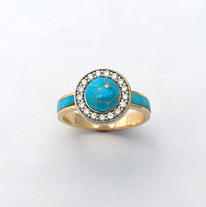 Turquoise, Gold, and Diamond Engagement Ring