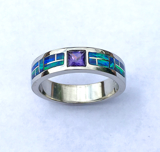 Purple Sapphire and Cultured Opal inlay #G0141