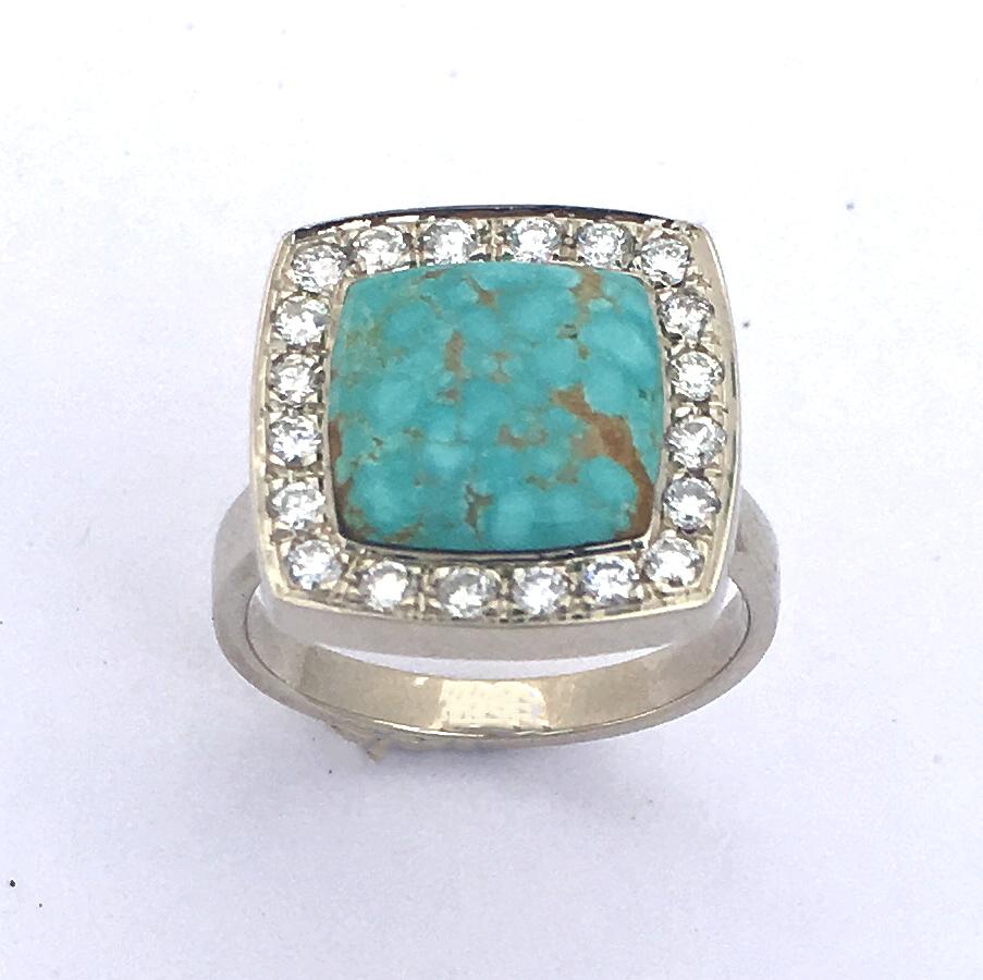 14 Karat Gold, Diamond, and Turquoise Engagement Ring #G0143