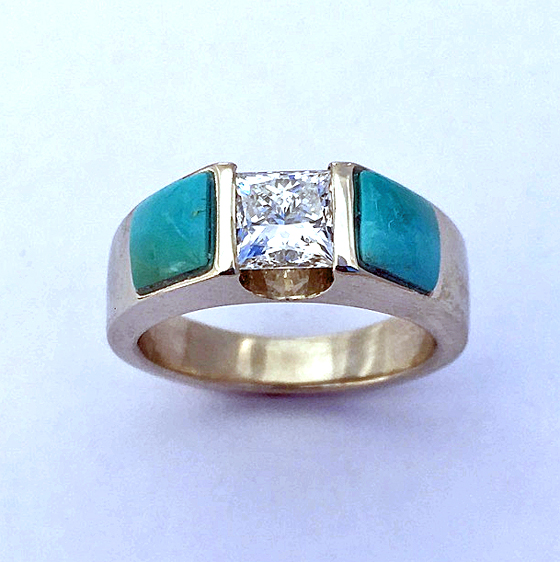 Engagement Ring With Diamond and Turquoise #G0144