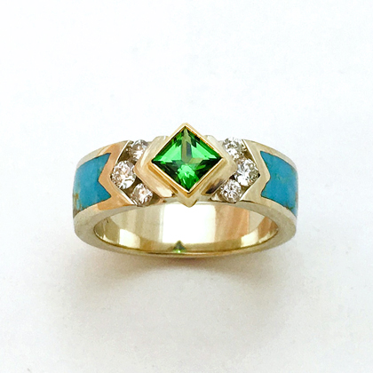 Gold Green Garnet Diamond Turquoise Ring #G0145