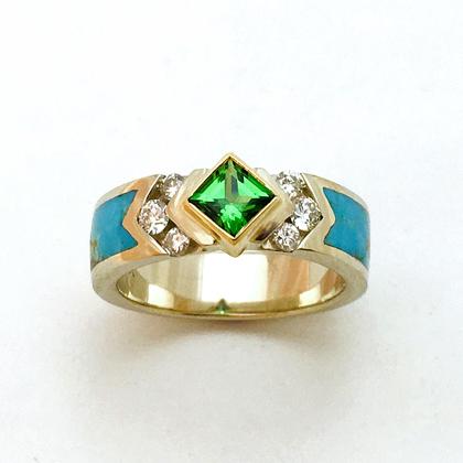 Gold Green Garnet Diamond Turquoise Ring #G0145