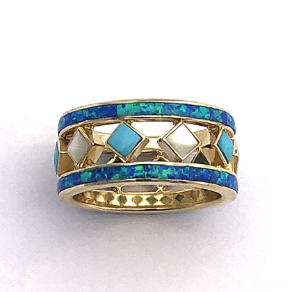 Gold and Inlay Mothers Ring #G0146
