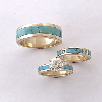 Gold Diamond Turquoise Wedding Set #G0150
