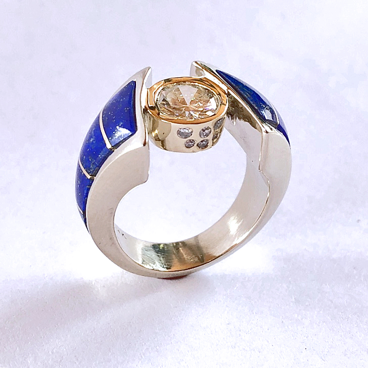 White and Yellow Gold Diamond Ring with Lapis inlay #G0151