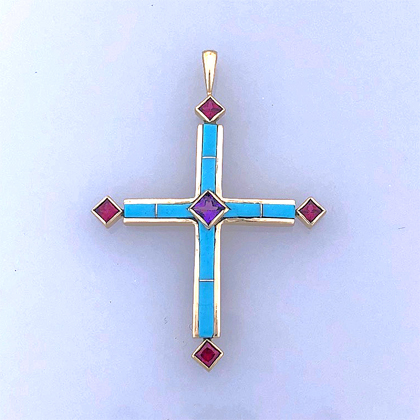Gold Cross Pendant with Ruby, Amethyst and Turquoise #g0232