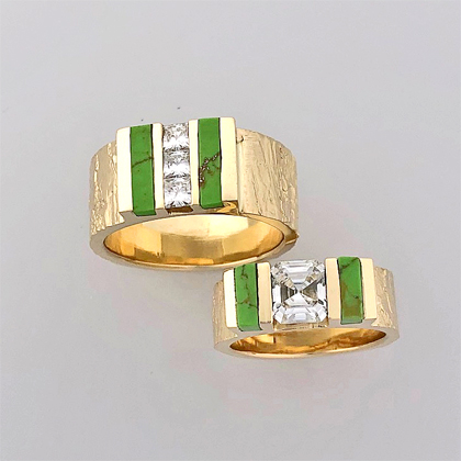 Gold Diamond and Turquoise wedding rings #G0153