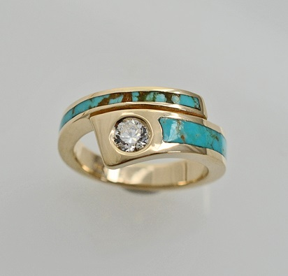 14 karat Gold, Diamond, and Turquoise engagement ring by Southwest Orignals