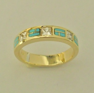 14 karat yellow gold ring with Diamonds and Natural Turquoise Inlay