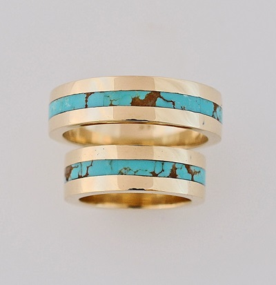Gold and Turquoise Wedding Ring Set by Southwest Originals