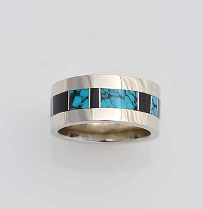 10mm wide Gold Band with Turquoise and Black Jade