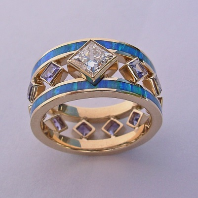 14 Karat Gold, Diamond, Opal, and Tanzanite Ring by Southwest Originals 505-363-7150
