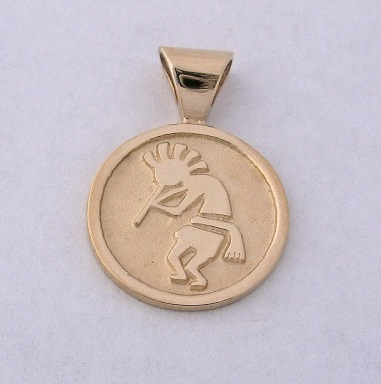 14 Karat Gold Kokopelli Pendant by Southwest Originals 505-363-7150