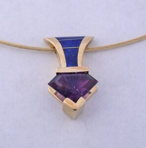 14 Karat Gold Pendant with Amethyst and Lapiz Inlay by Southwest Originals 505-363-7150