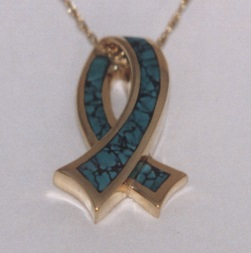 14 Karat Gold Ribbon Pendant with Turquoise Inlay by Southwest Originals 505-363-7150