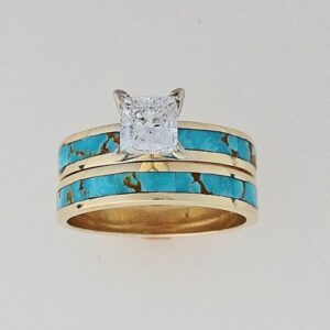 14-Karat-Gold-Turquoise-and-Princess-Cut-Diamond-Wedding-Set-by-Southwest-Originals-505-363-7150