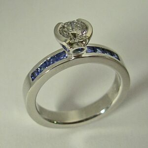 14-Karat-White-Gold-Engagement-Ring-with-Diamond-and-Sapphire-by-Southwest-Originals-505-363-7150