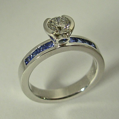 14 Karat White Gold Engagement Ring with Diamond and Sapphire by Southwest Originals 505-363-7150