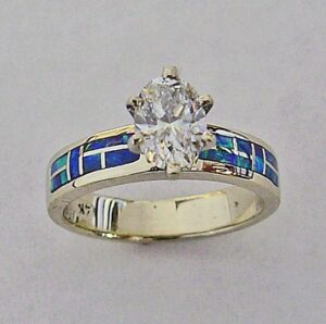 14-Karat-White-Gold-Engagment-Ring-With-Lab-Opal-and-.50-Carat-Oval-Diamond-by-Southwest-Originals-505-363-7150