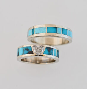 14-Karat-White-Gold-Heart-Shape-Diamond-and-Bisbee-Turquoise-Wedding-Set by Southwest Originals 505-363-7150
