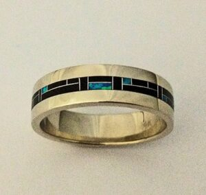14-Karat-White-Gold-Wedding-Band-With-Black-Jade-and-Blue-Lab-Opal-Inlay-by-Southwest-Originals-505-363-7150