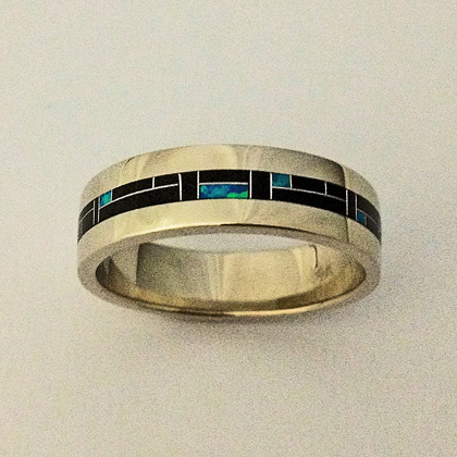 14 Karat White Gold Wedding Band With Black Jade and Blue Lab Opal Inlay