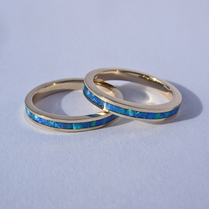 14 Karat Yellow Gold Band with Lab Created Blue Opal