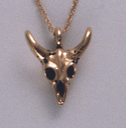 14 Karat Yellow Gold Cow Skull Pendant by Southwest Originals 505-363-7150