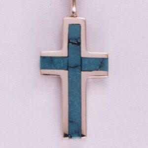 14 Karat Yellow Gold Cross Pendant with Turquoise Inlay by Southwest Originals 505-363-7150