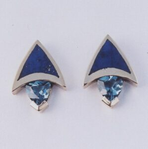 14 Karat Yellow Gold Earrings with Lapis inlay and Blue Topaz by Southwest Originals 505-363-7150