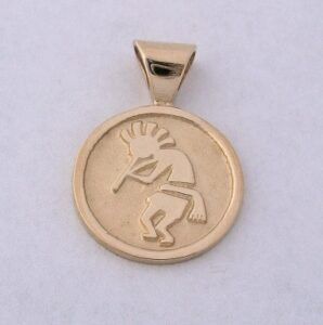14 Karat Yellow Gold Kokopelli Pendant b by Southwest Originals 505-363-7150