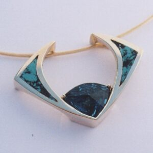 14 Karat Yellow Gold Pendant with London Blue Topaz and Turquoise Inlay by Southwest Originals 505-363-7150