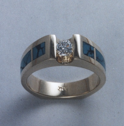14 Karat White Gold Ring with Diamond and Natural Turquoise Inlay by Southwest Originals 505-363-7150