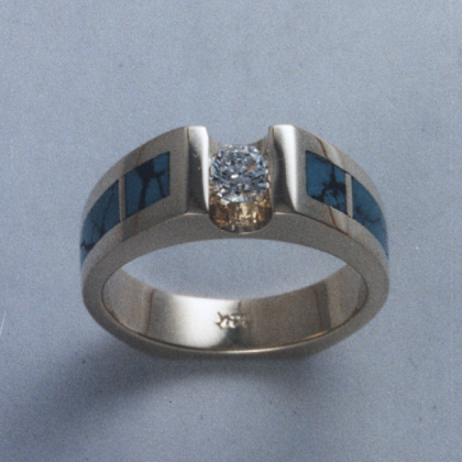 14 Karat Yellow Gold Ring with Diamond and Natural Turquoise Inlay