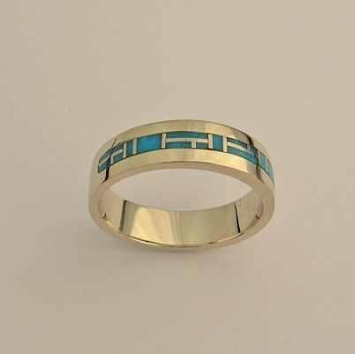 14 Karat Yellow Gold Ring with Natural Turquoise Inlay by Southwest Originals 505-363-7150