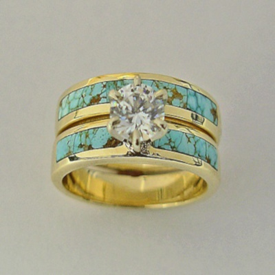 14 Karat Yellow Gold Wedding Set With Turquoise and Diamond by Southwest Original 505-363-7150